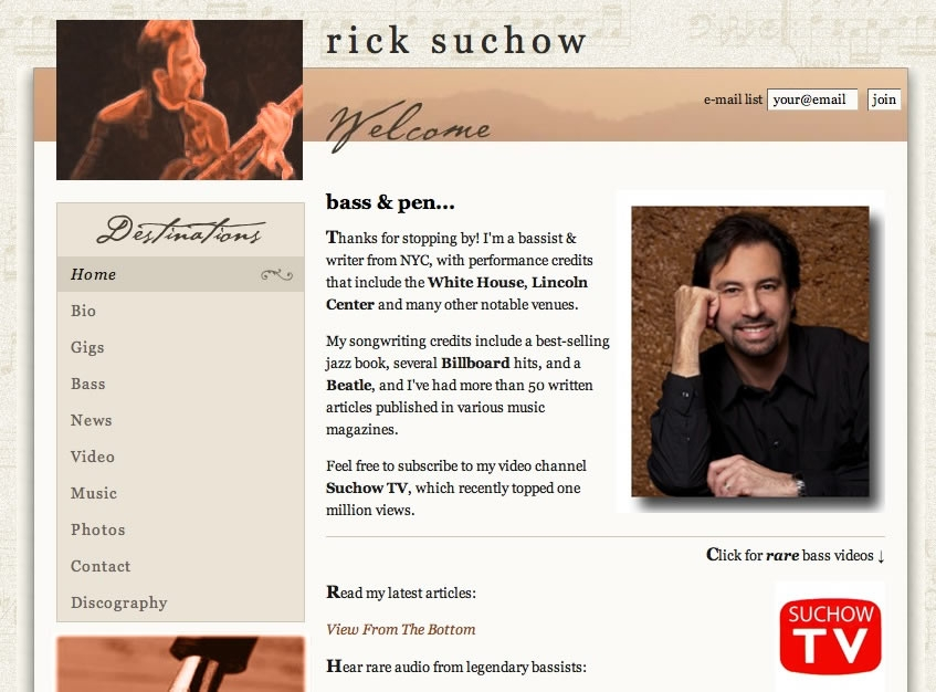 Rick Suchow - NYC Bassist & Writer