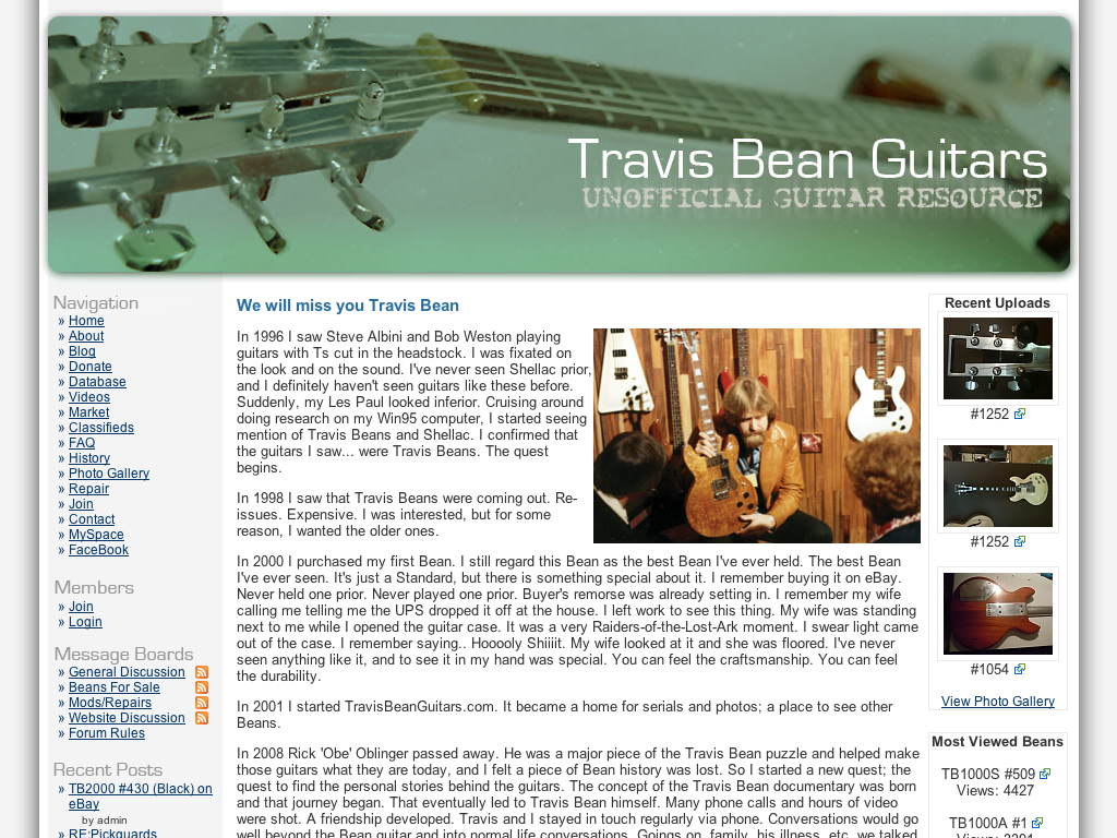 Treavis Bean Unofficial Guitar Resource